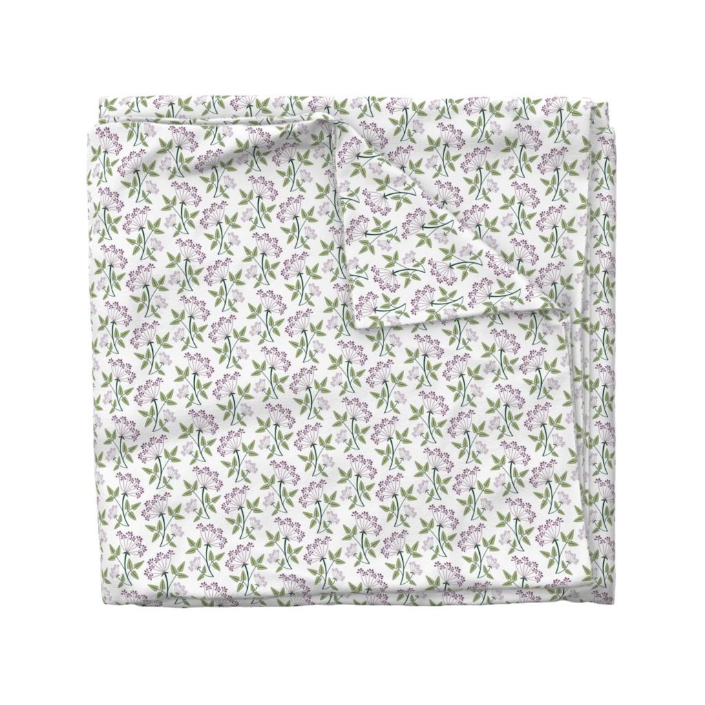 Wyandotte Duvet Cover featuring woodland_lacy_flower1 by cindylindgren