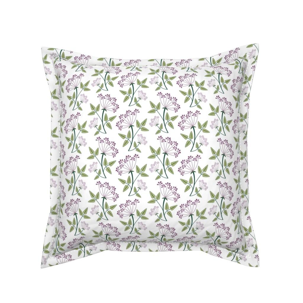 Serama Throw Pillow featuring woodland_lacy_flower1 by cindylindgren