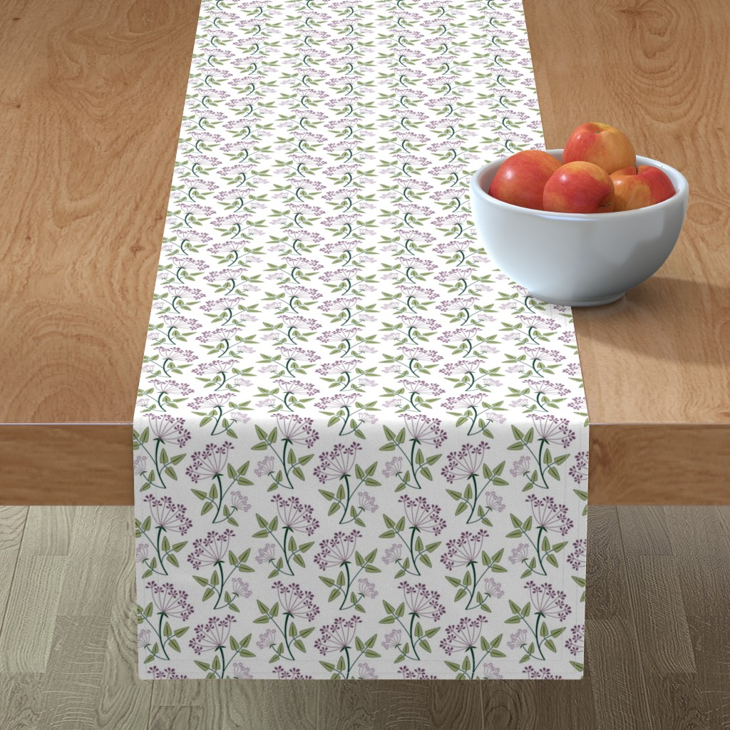 Minorca Table Runner featuring woodland_lacy_flower1 by cindylindgren
