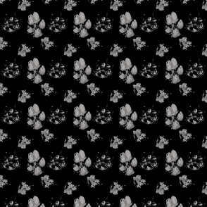 Muddy paw prints - black