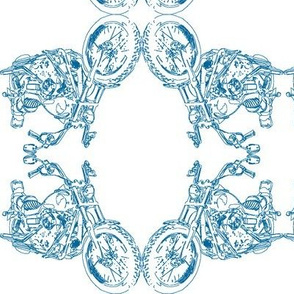 Motorcycle Damask in Blue