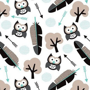 gender neutral blue black and beige summer owl feathers tree and arrows woodland illustration pattern design