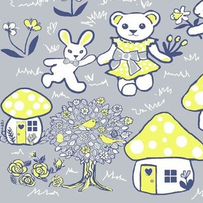 rabbit and fungi // woodland animal nursery/ Toadstool Forest