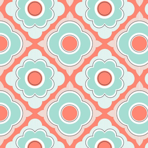 Mod Flowers - Mint, Coral, Black
