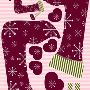 Christmas Stocking with Two Hanging Hearts