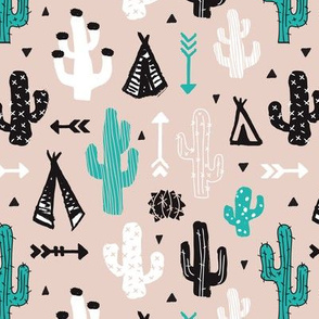 gender neutral soft blue and beige cactus and teepee botanical summer garden and indian arrow geometric grunge illustration pattern print