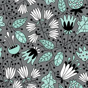 Flowers mint on gray
