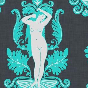 Venus Damask Turquoise on Gray