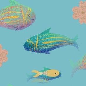 watercolor fish on blue