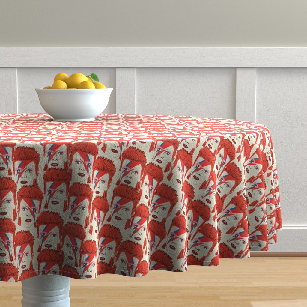 Malay Round Tablecloth featuring Glam rock creme #2 small size  by susiprint