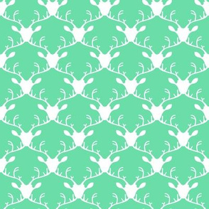 Deer heads (white on mint background)