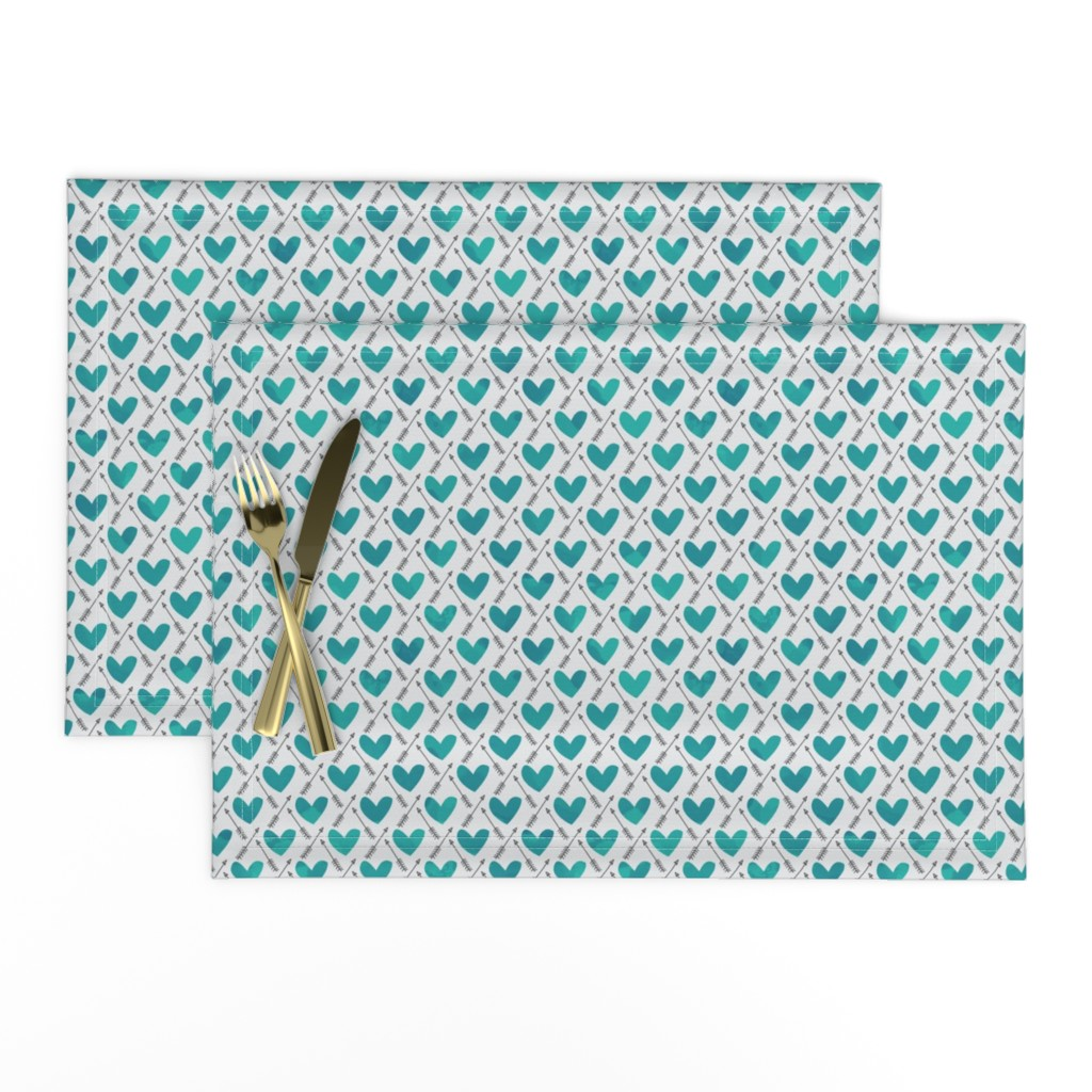Lamona Cloth Placemats featuring Blue Watercolor Hearts + Cupid's Arrow by papercanoefabricshop