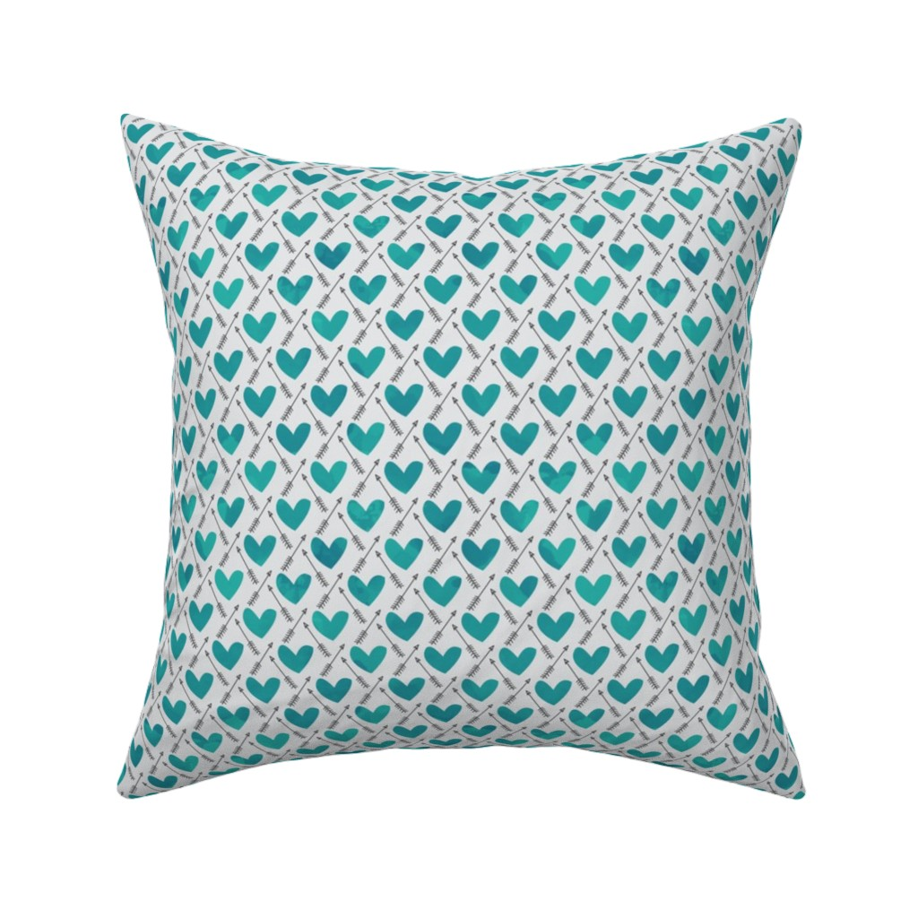 Catalan Throw Pillow featuring Blue Watercolor Hearts + Cupid's Arrow by papercanoefabricshop
