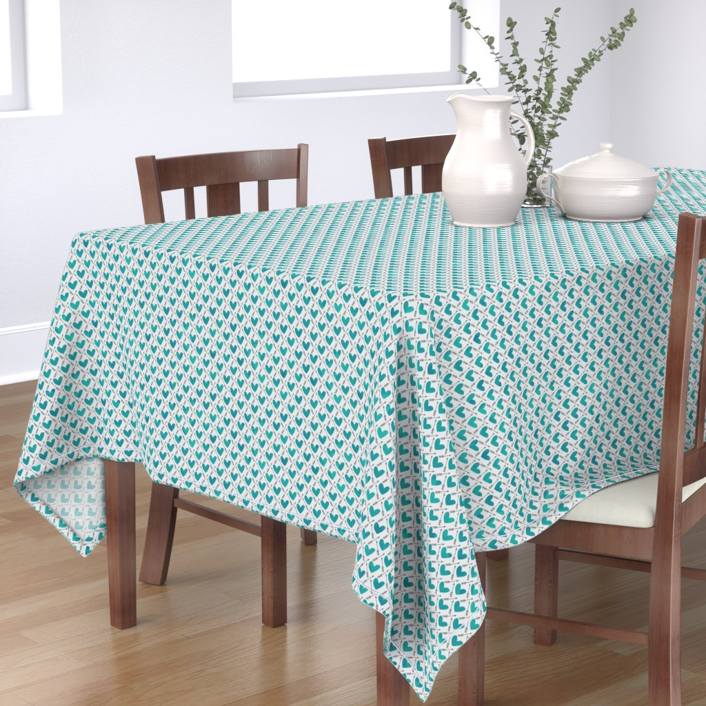 Bantam Rectangular Tablecloth featuring Blue Watercolor Hearts + Cupid's Arrow by papercanoefabricshop