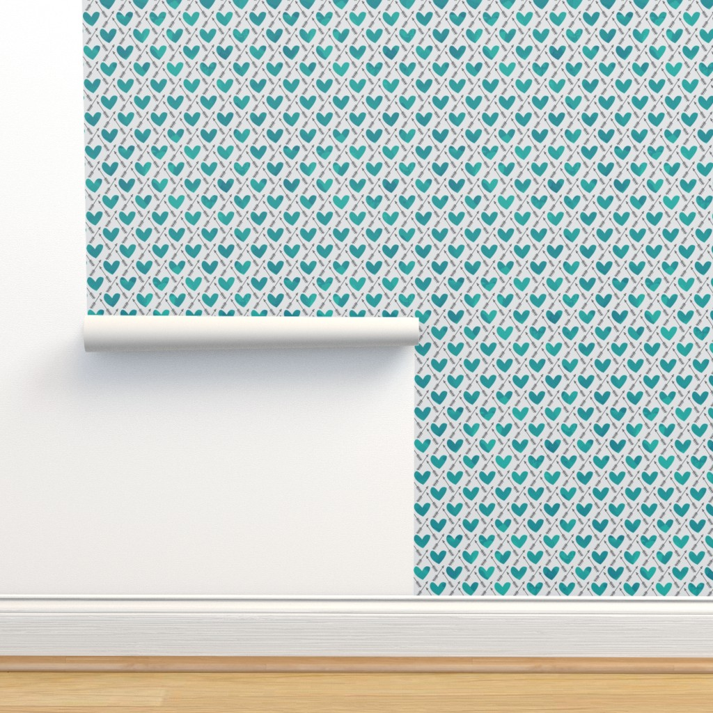 Isobar Durable Wallpaper featuring Blue Watercolor Hearts + Cupid's Arrow by papercanoefabricshop