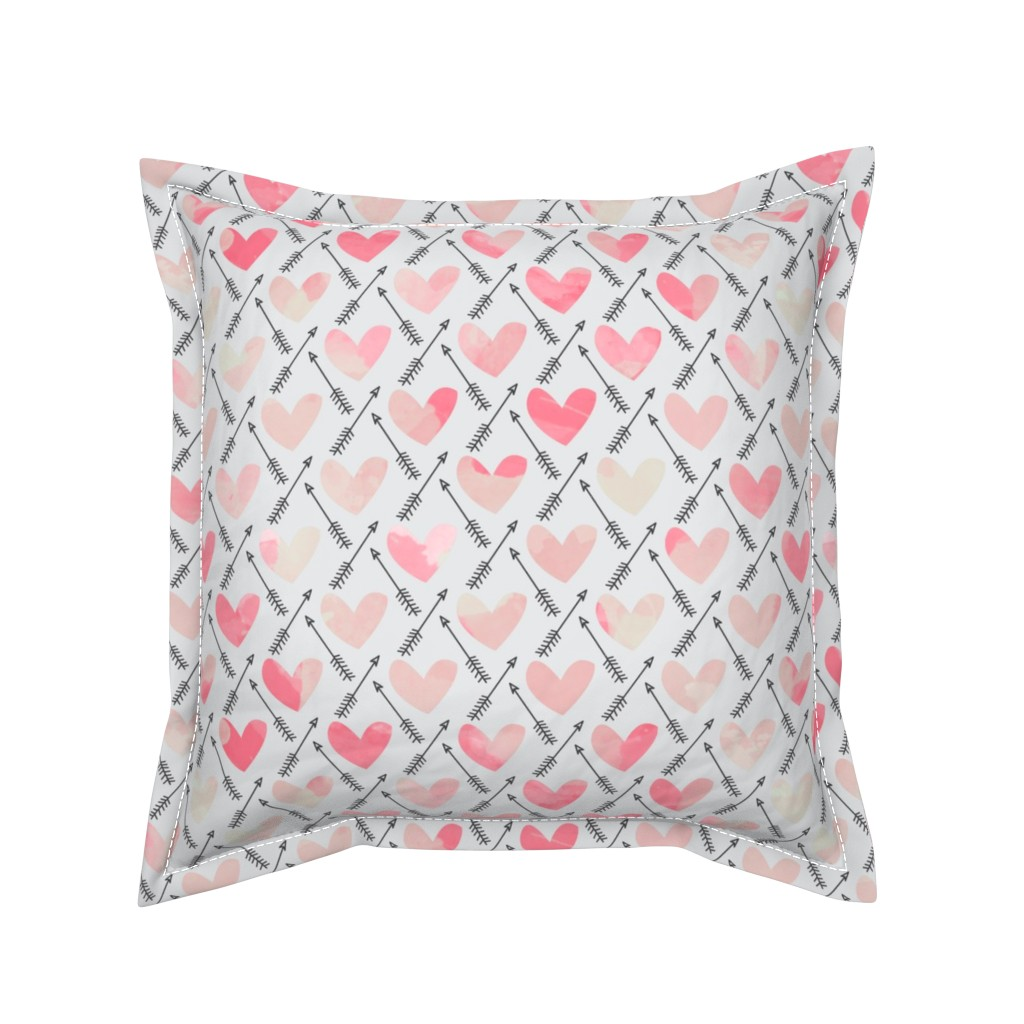 Serama Throw Pillow featuring Pink Watercolor Hearts + Cupid's Arrow - Large Scale by papercanoefabricshop