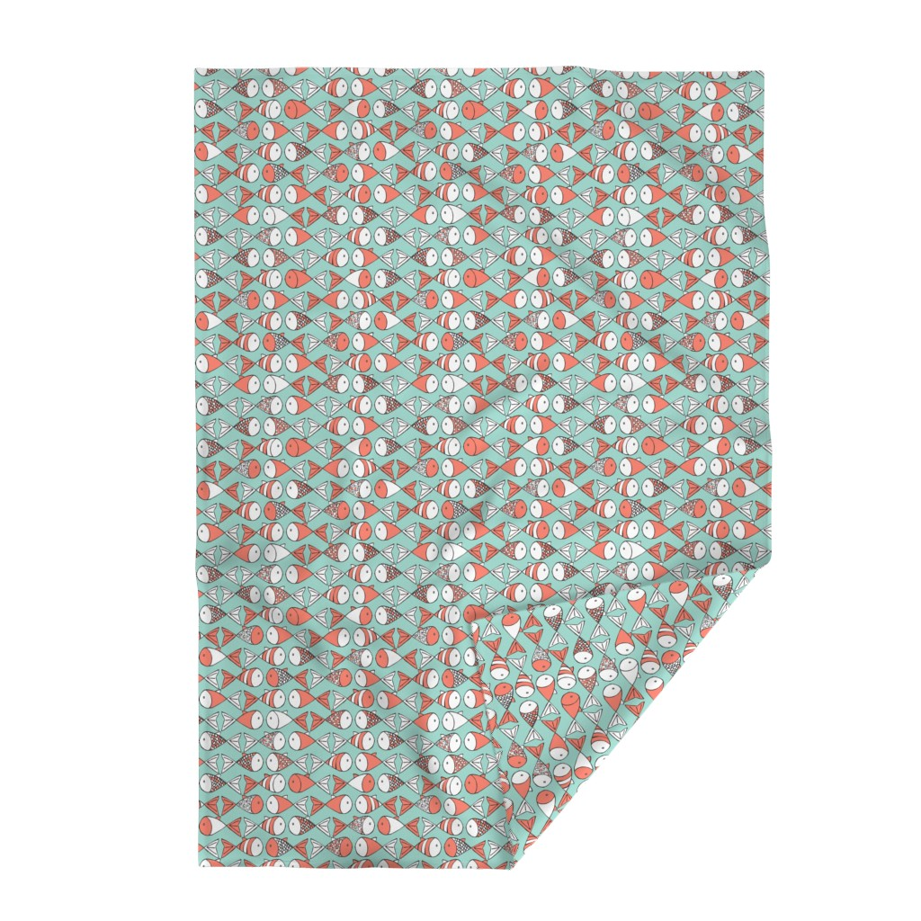 Lakenvelder Throw Blanket featuring Go Fish - Coral and Mint by papercanoefabricshop