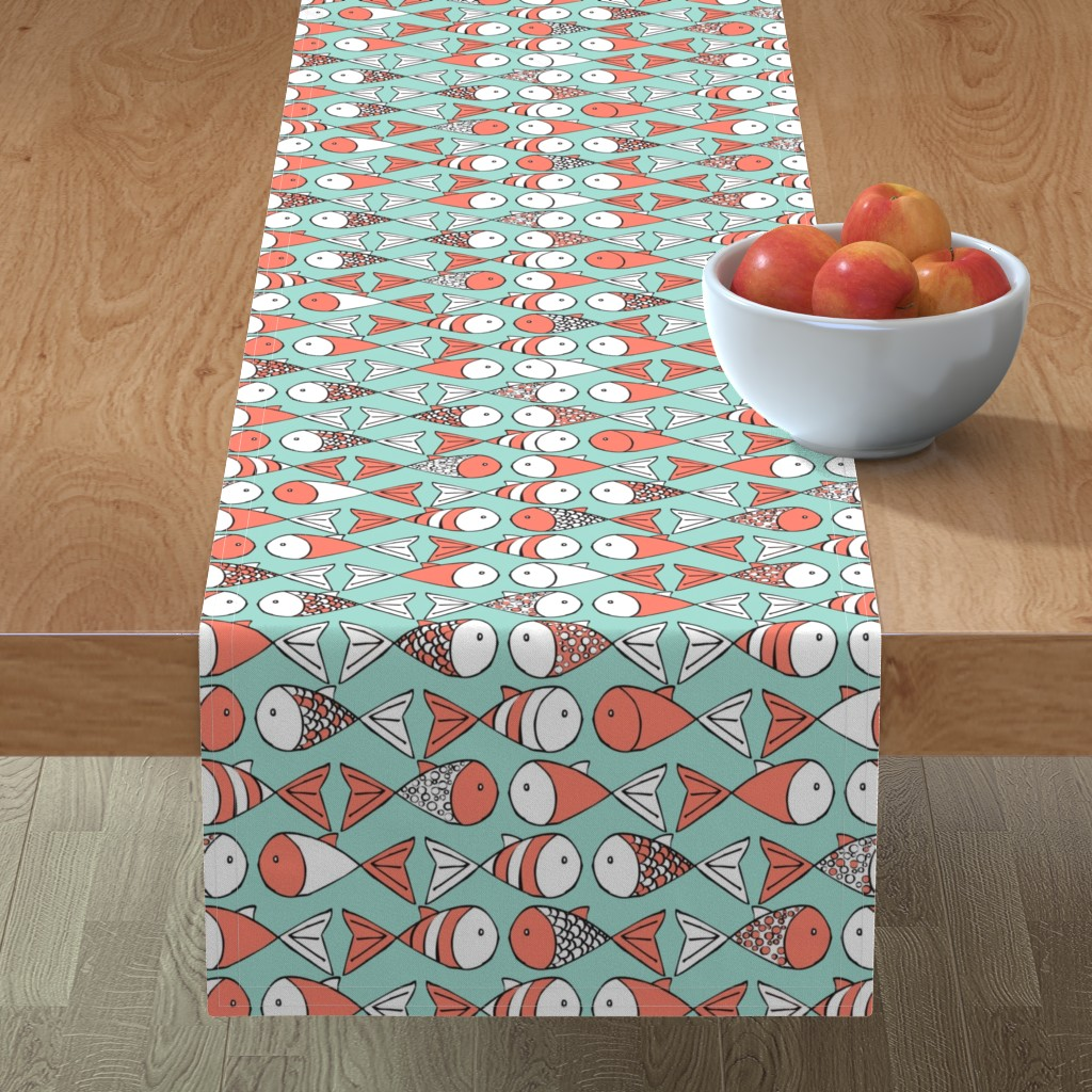 Minorca Table Runner featuring Go Fish - Coral and Mint by papercanoefabricshop