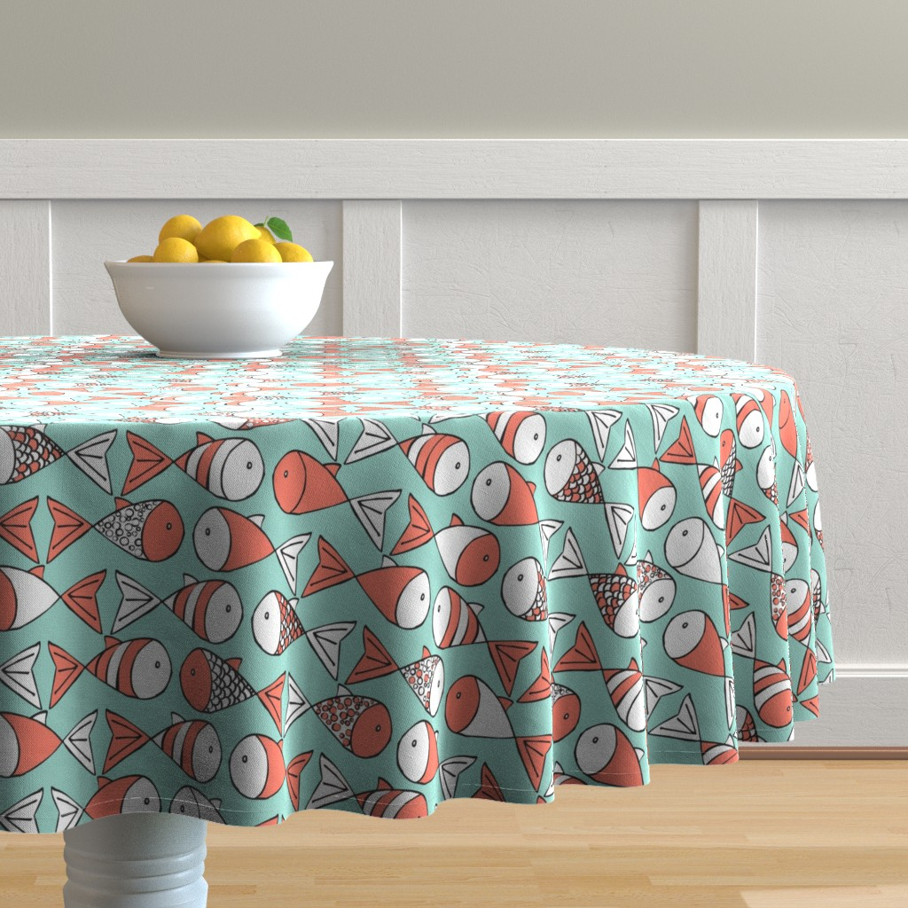 Malay Round Tablecloth featuring Go Fish - Coral and Mint by papercanoefabricshop