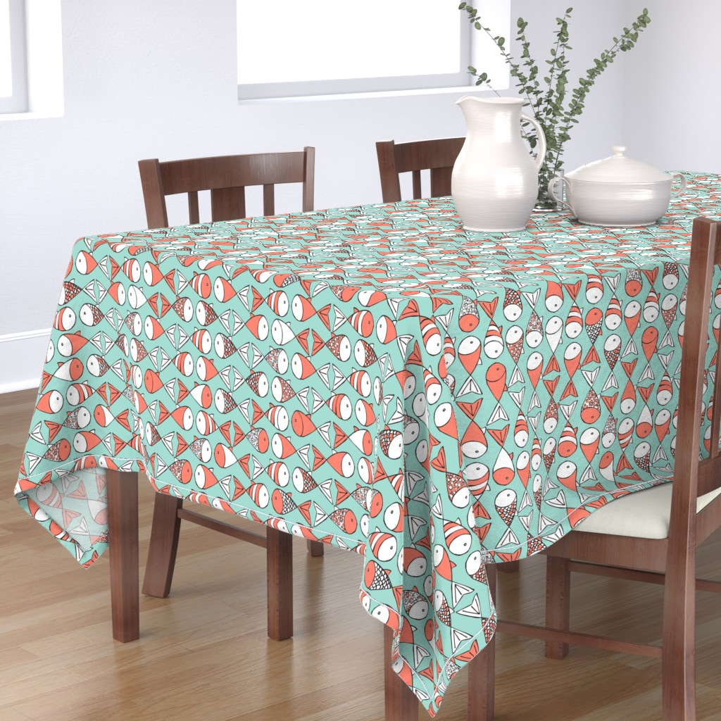 Bantam Rectangular Tablecloth featuring Go Fish - Coral and Mint by papercanoefabricshop