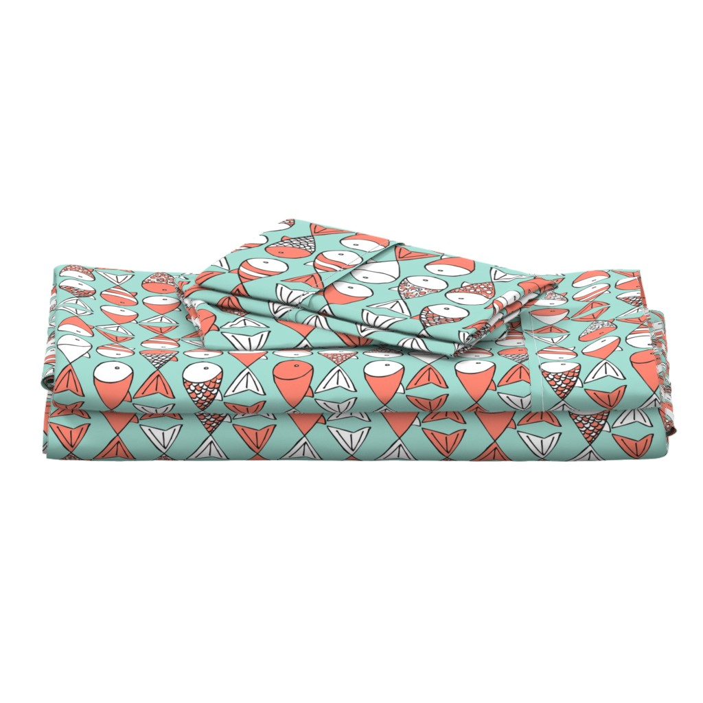 Langshan Full Bed Set featuring Go Fish - Coral and Mint by papercanoefabricshop