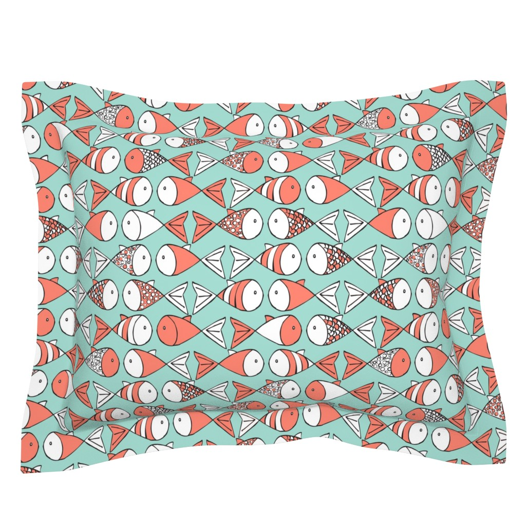 Sebright Pillow Sham featuring Go Fish - Coral and Mint by papercanoefabricshop