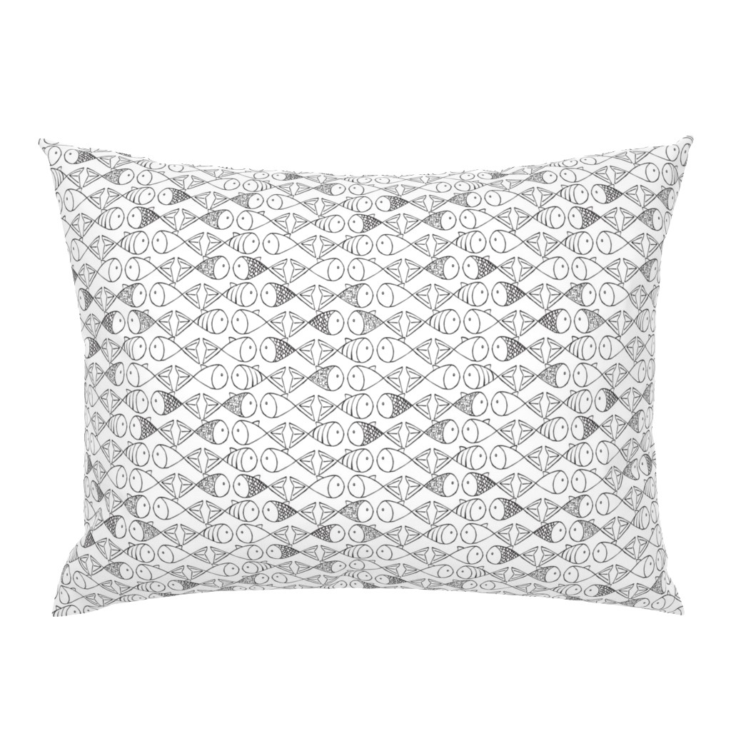 Campine Pillow Sham featuring Go Fish - Black and White by papercanoefabricshop