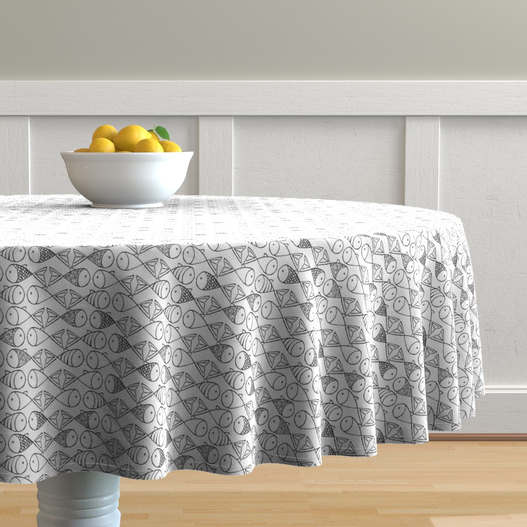 Malay Round Tablecloth featuring Go Fish - Black and White by papercanoefabricshop