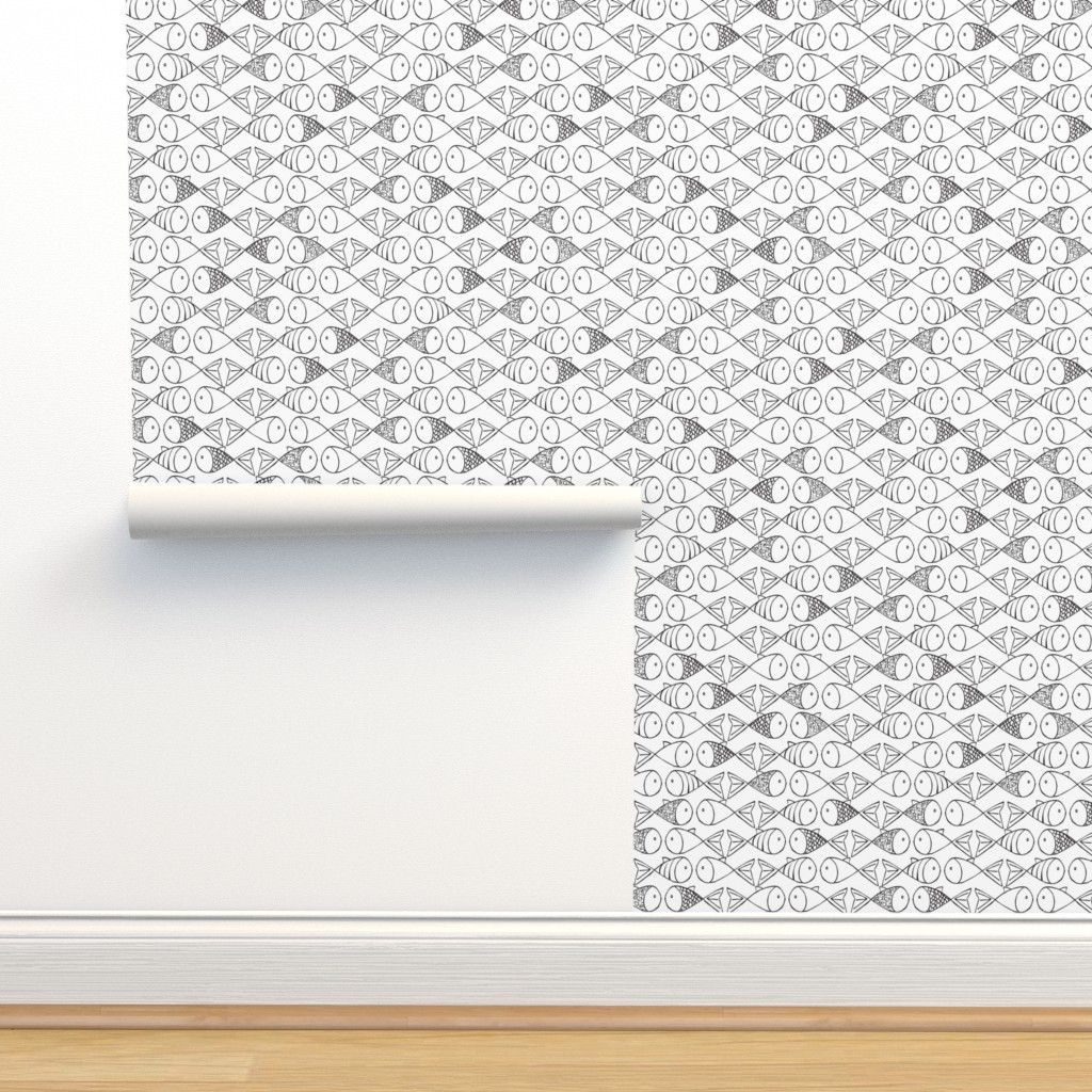 Isobar Durable Wallpaper featuring Go Fish - Black and White by papercanoefabricshop
