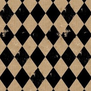 Burlap Gold & Black Harlequin Diamond