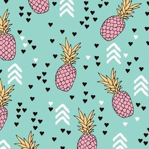 Tropical hawaiian aqua blue and pink pineapple summer fruit geometric arrow pattern print