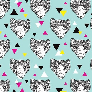 Colorful grizzly bear scandinavian spring woodland hand dran illustration pattern in blue