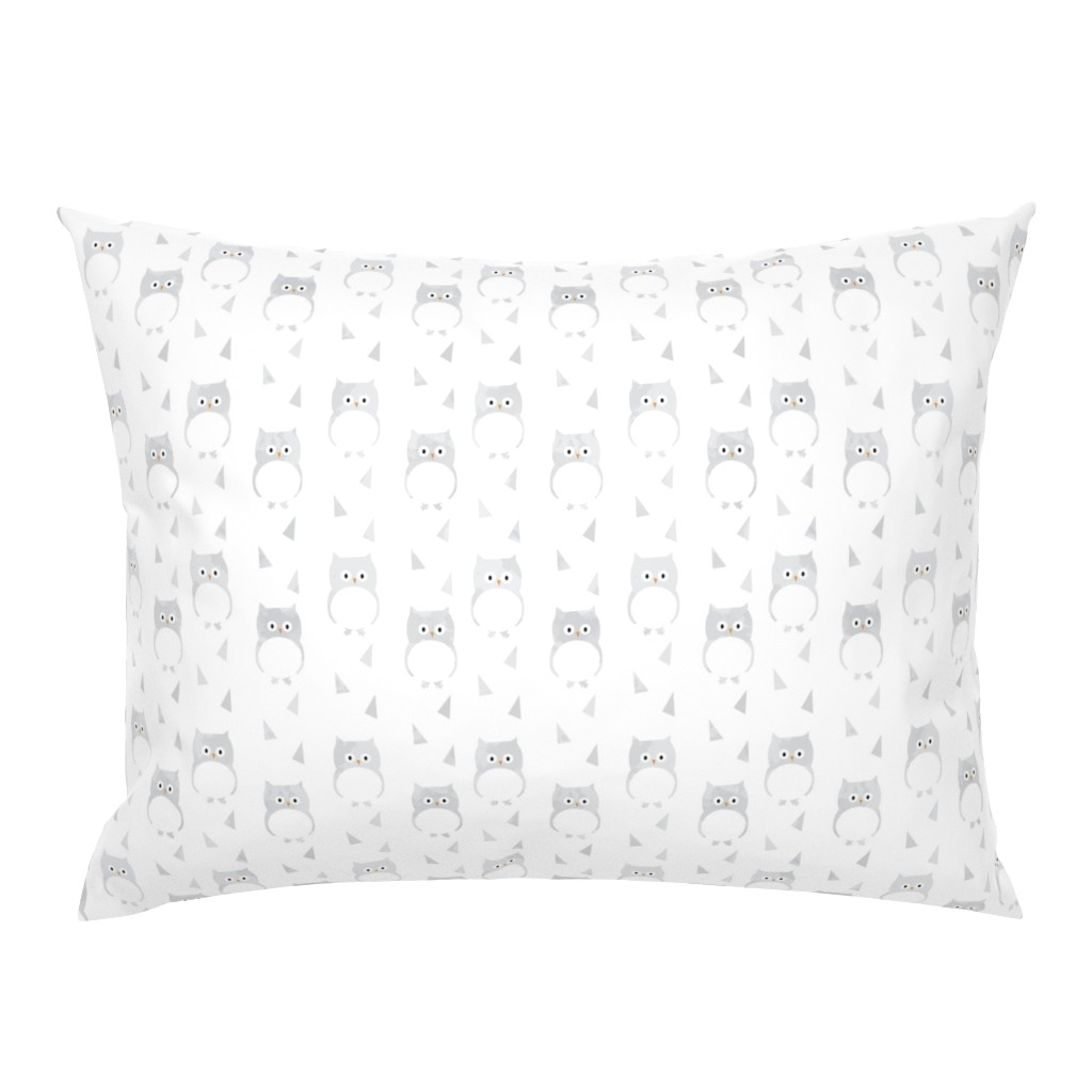 Campine Pillow Sham featuring Owl Babies Winter Feathers - Large Scale by papercanoefabricshop