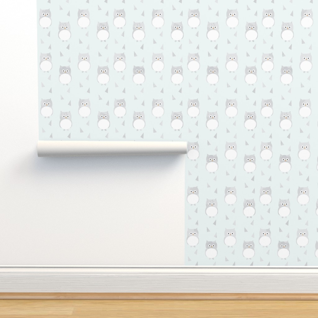 Isobar Durable Wallpaper featuring Owl Babies Winter Feathers - Blue - Large Scale by papercanoefabricshop