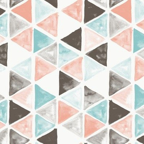 Watercolor Triangles - coral and teal