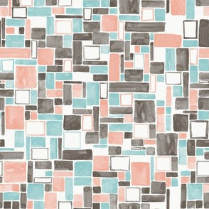 Watercolor Squares and rectangles - colorway 03 - coral