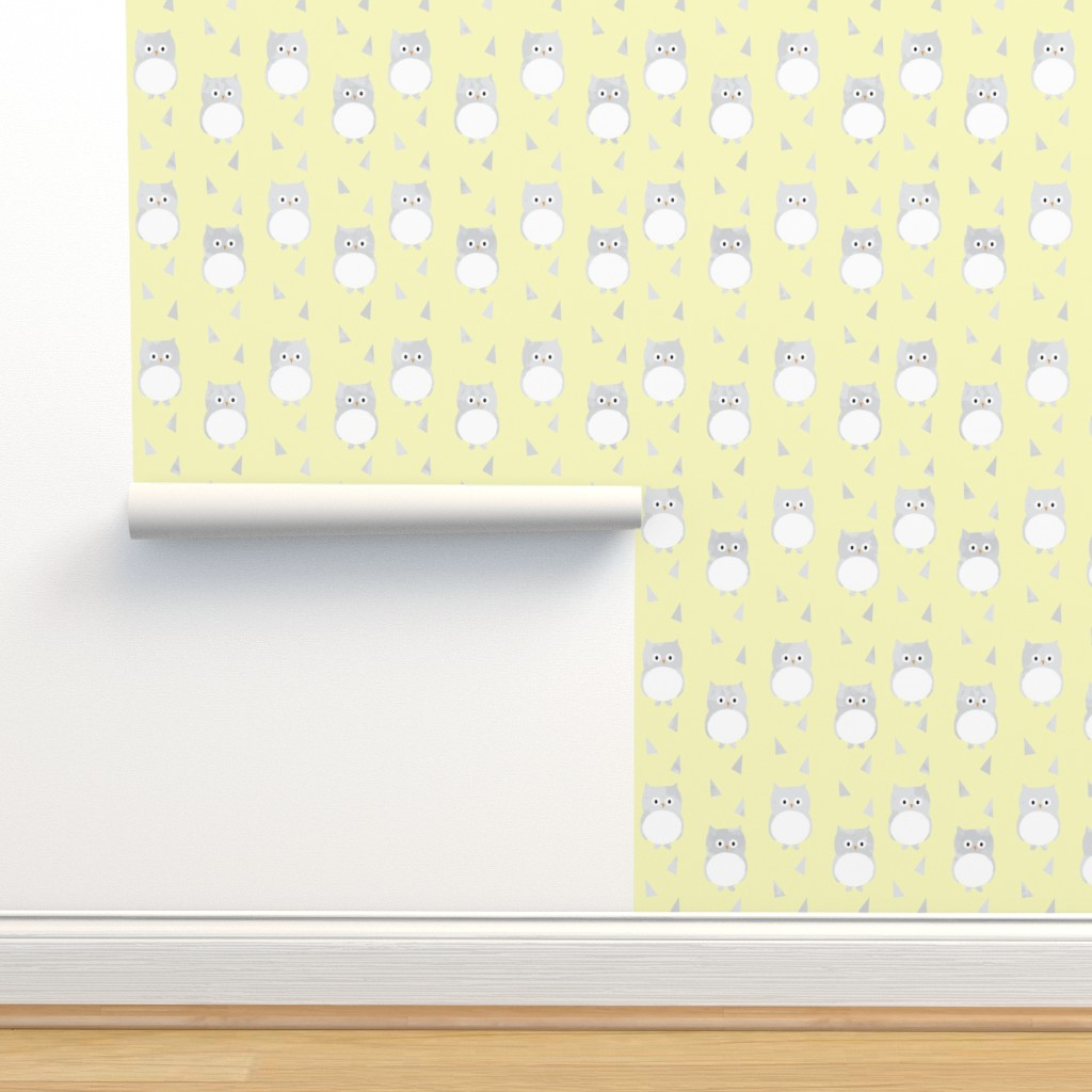 Isobar Durable Wallpaper featuring Owl Babies Winter Feathers - Yellow by papercanoefabricshop