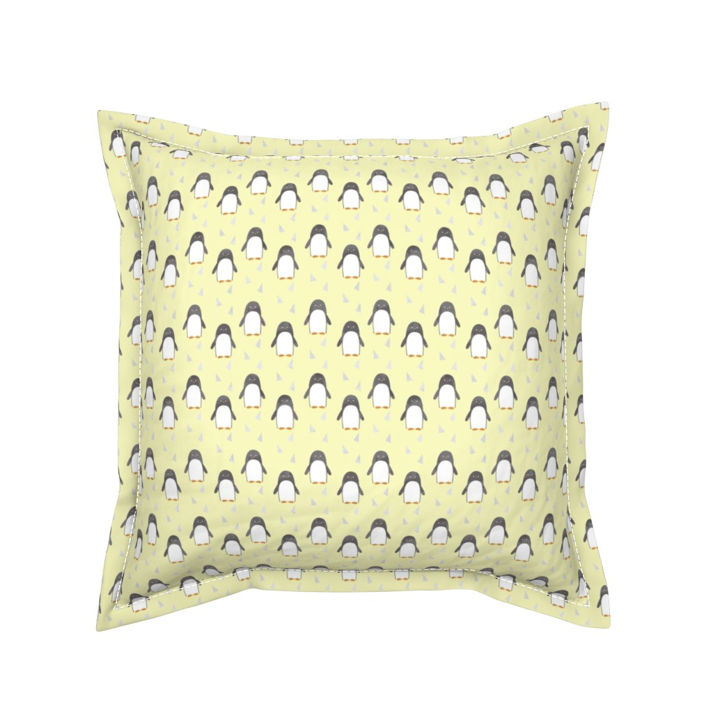 Serama Throw Pillow featuring Ice Cold Penguins - Yellow - Small Scale by papercanoefabricshop