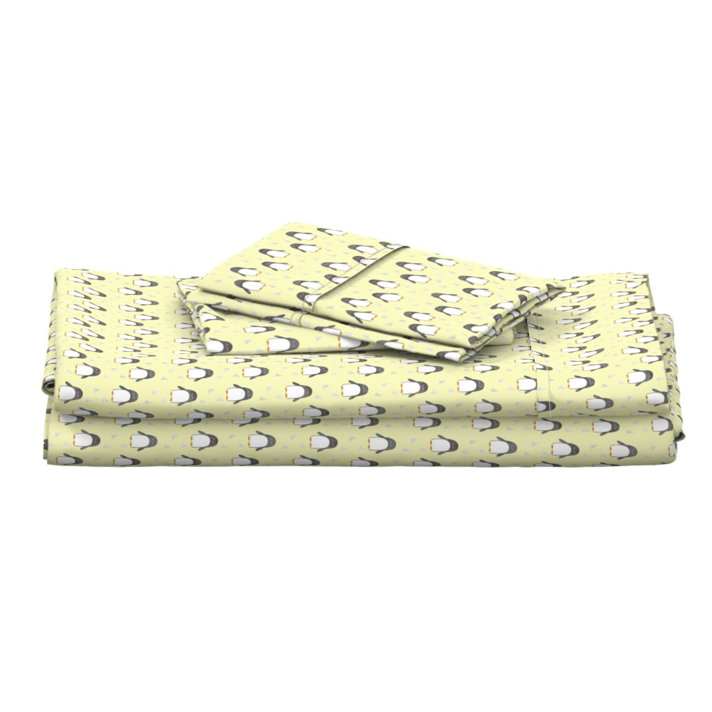 Langshan Full Bed Set featuring Ice Cold Penguins - Yellow - Small Scale by papercanoefabricshop