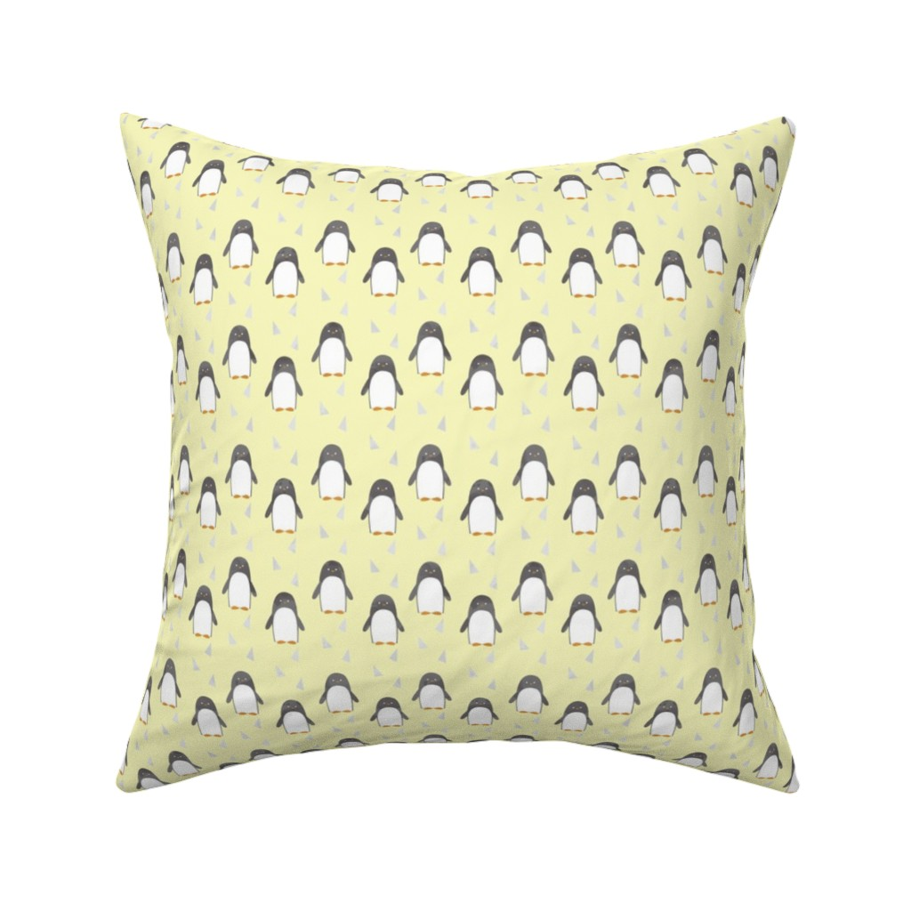 Catalan Throw Pillow featuring Ice Cold Penguins - Yellow - Small Scale by papercanoefabricshop