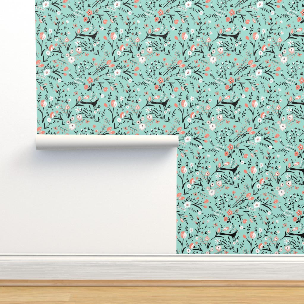 Isobar Durable Wallpaper featuring BOUQUET by lfntextiles