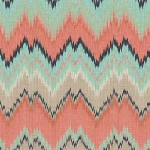 Half Scale Ikat Chevron in Coral, Mint and Navy
