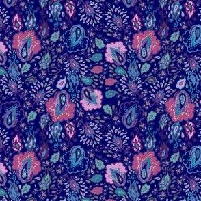 Arabic night, violet floral pattern