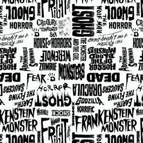 Horror words -white