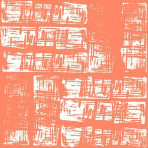 Haphazard - coral and white