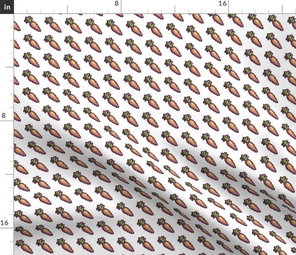 Tissu Au Mètre Pixel Art Capricieux Carotte La Nature Pixel