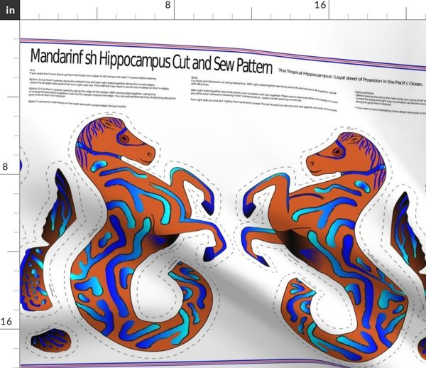 I Want A Hippocampus For Christmas.Colorful Fabrics Digitally Printed By Spoonflower Mandarinfish Hippocampus Pattern