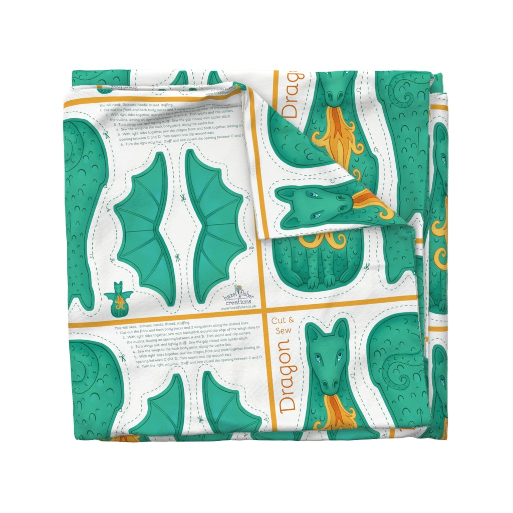 Wyandotte Duvet Cover featuring Dragon Cut and Sew Plushie - green by hazelfishercreations