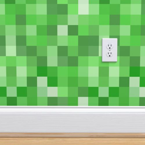 Wallpaper Green Pixel Fabric
