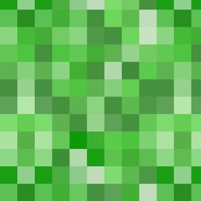 Green Pixel Fabric Spoonflower